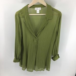 Soft Surroundings Olive Green Tunic Top